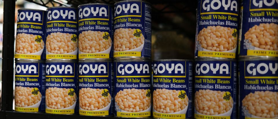 Cans of Goya food products are displayed on a shelf in a store on July 16, 2020 in New York City. Donald and Ivanka Trump shared images of themselves holding Goya Foods products after the head of Goya expressed his support for President Trump. Activists and consumers have called for a boycott of Goya, a company with a large Hispanic client base, following the news of the CEO's support for Trump. (Photo by Spencer Platt/Getty Images)