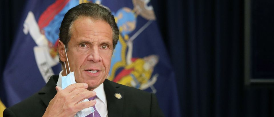 NEW YORK, NEW YORK - SEPTEMBER 08: New York state Gov. Andrew Cuomo speaks at a news conference on September 08, 2020 in New York City. Cuomo, though easing restrictions on casinos and malls throughout the state, has declined to do so for indoor dining in restaurants in New York City despite pressure from business owners, citing struggles by the city to enforce the state's previous orders. (Spencer Platt/Getty Images)