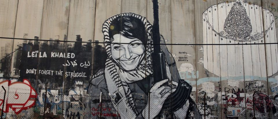 General views of Leila Khaled mural on the Apartheid Wall at Bethlehem on June 16, 2013 in central West Bank. (Ian Walton/Getty Images)