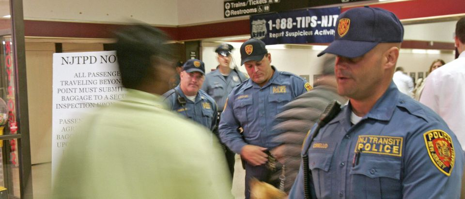 New Jersey Transit Police officers guard