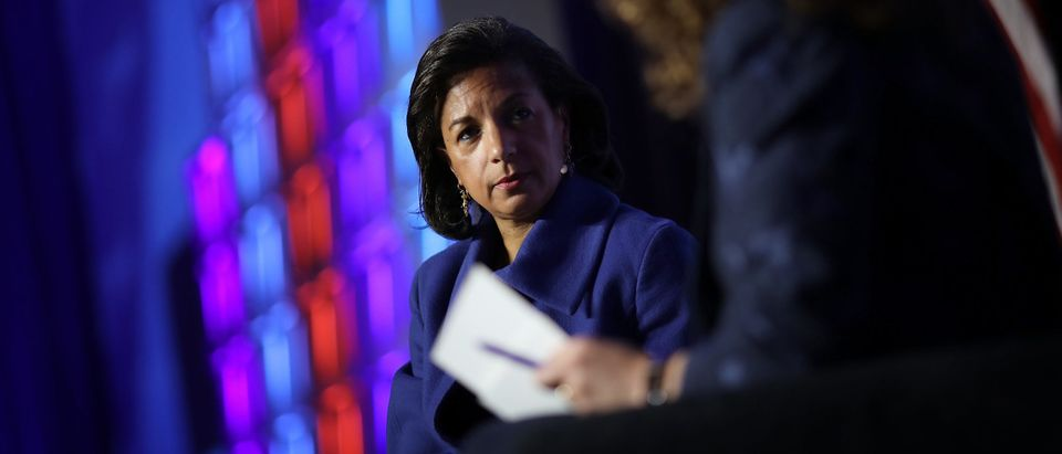 """WASHINGTON, DC - APRIL 16: Former National Security Advisor Susan Rice speaks at the J Street 2018 National Conference April 16, 2018 in Washington, DC. Rice spoke on the topic of """"The Dangers of U.S. Foreign Policy Under Trump"""". (Win McNamee/Getty Images)"""