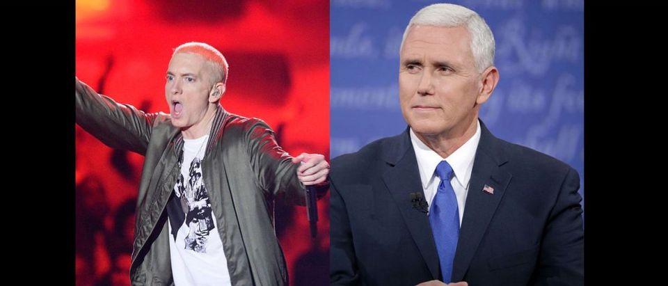 Mike Pence, Eminem (Credit: Getty Images Compilation)