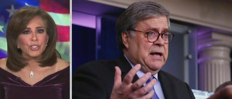 Pirro rips Barr over fraud allegations (Fox News screengrab)