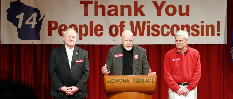 Wisconsin State Senator Fred Risser (center) will retire Monday after 64 years in the legislature.