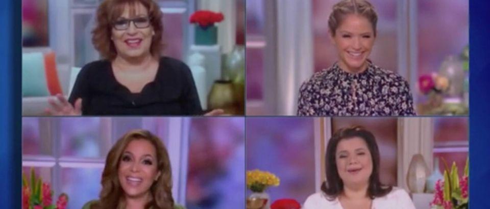 """Joy Behar, Sunny Hostin, Sara Haines and Ana Navarro appear on """"The View."""" Screenshot/ABC"""