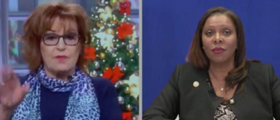 "Joy Behar speaks to NY Attorney General Letitia James on ""The View."" Screenshot/ABC"