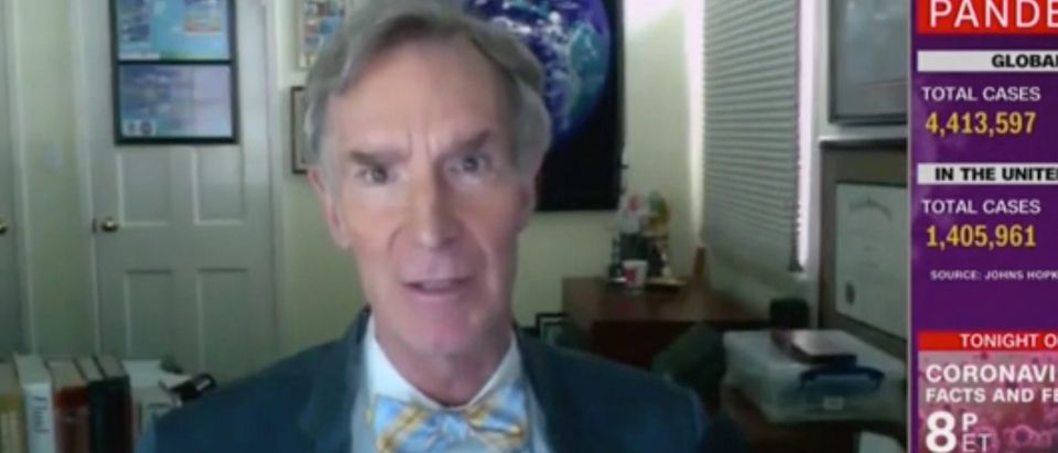 Bill Nye appears on CNN to discuss progress on coronavirus. Screenshot/CNN