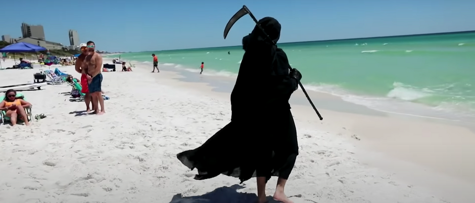 Daniel Uhlfelder dressed as the Grim Reaper