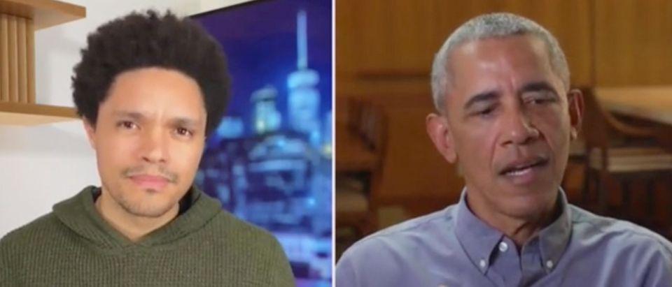 "Trevor Noah speaks with former President Barack Obama on ""The Daily Show."" Screenshot/Comedy Central"