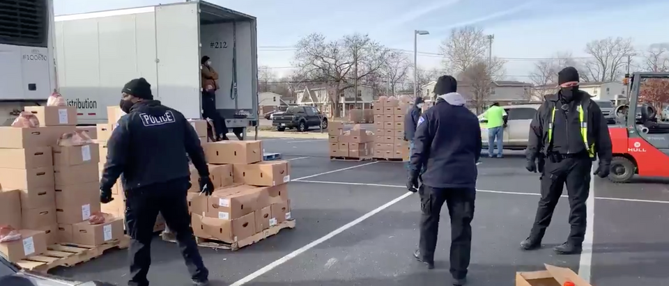 Police Officers In South Bend, Indiana Hand Out Gifts