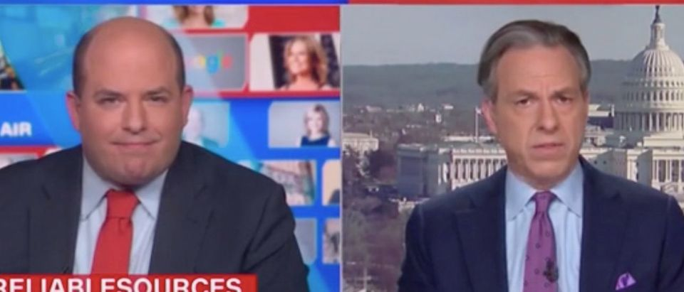 """Brian Stelter and Jake Tapper appear on """"Reliable Sources."""" Screenshot/CNN"""