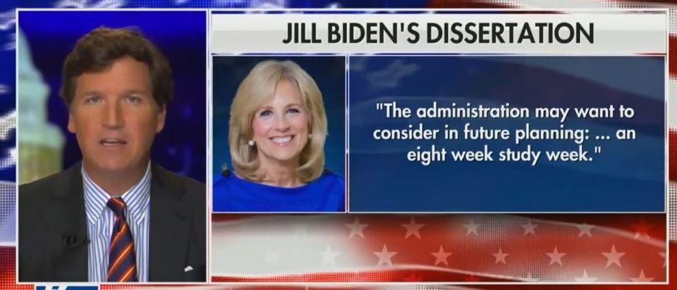 Tucker Carlson breaks down Jill Biden dissertation (Fox News screengrab)