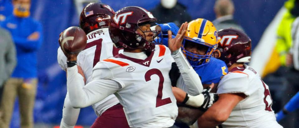 PITTSBURGH, PA - NOVEMBER 21: Hendon Hooker #2 of the Virginia Tech Hokies drops back to pass against the Pittsburgh Panthers at Heinz Field on November 21, 2020 in Pittsburgh, Pennsylvania. (Photo by Justin K. Aller/Getty Images)