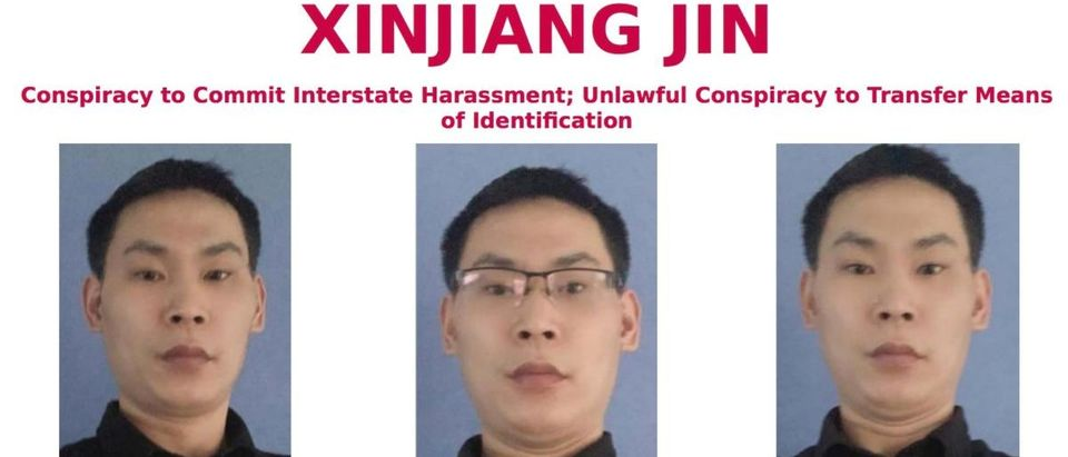 "FBI announcement of Xinjiang Jin, aka Julien Jin, added to its ""Most Wanted"" list. (Handout via FBI)"