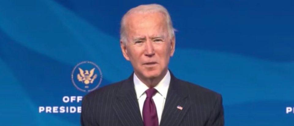 President-elect Joe Biden announces Pete Buttigieg as secretary of transportation, Dec. 16, 2020. (Youtube screen capture/Joe Biden)