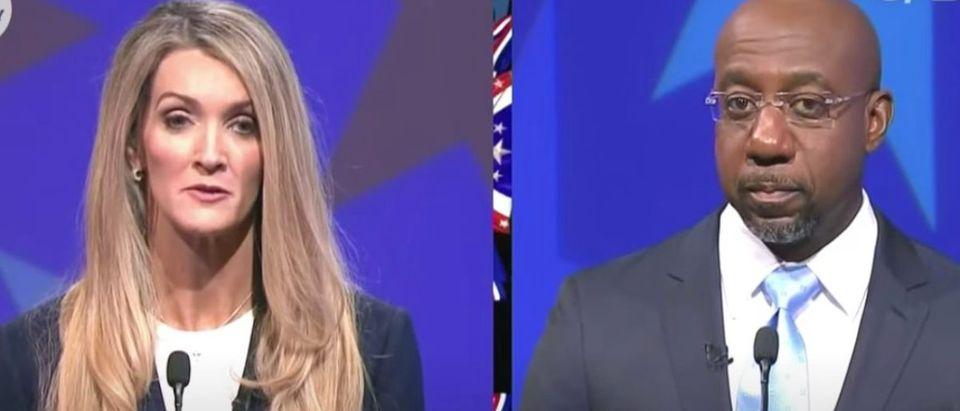Kelly Loeffler debates Raphael Warnock in Atlanta, Dec. 6, 2020. (Youtube screen capture/USA Today)