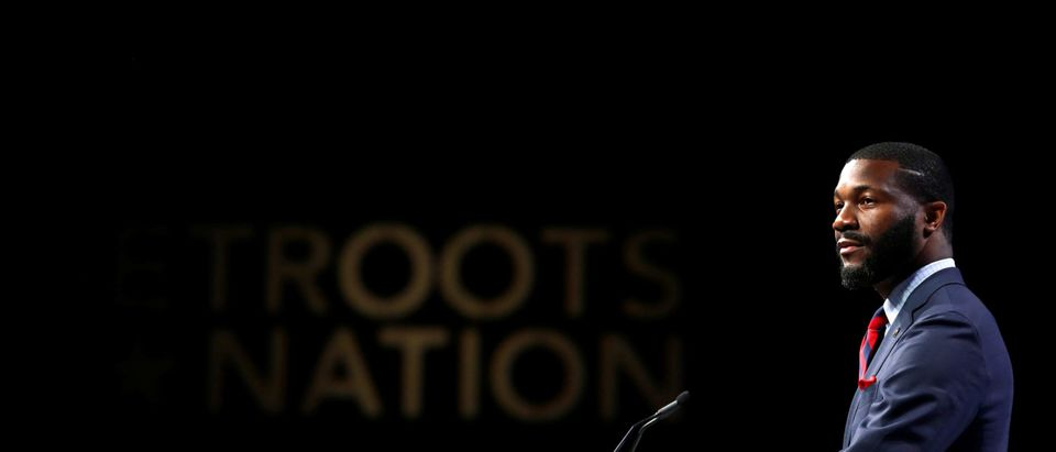 Mayor of Birmingham, Alabama, Randall Woodfin speaks at the Netroots Nation annual conference for political progressives in New Orleans