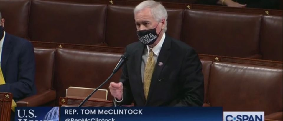 Rep. Tom McClintock (R-CA) says he will not support the impeachment of President Donald Trump, on the floor of the House of Representatives, Jan. 13, 2020. C-SPAN screenshot