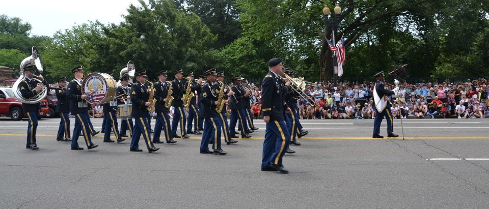 The District of Columbia National Guard 257th Army Band marches in the Independence Day Parade in Washington
