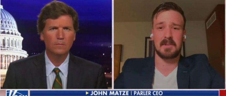 Tucker Carlson and Parler CEO John Matze