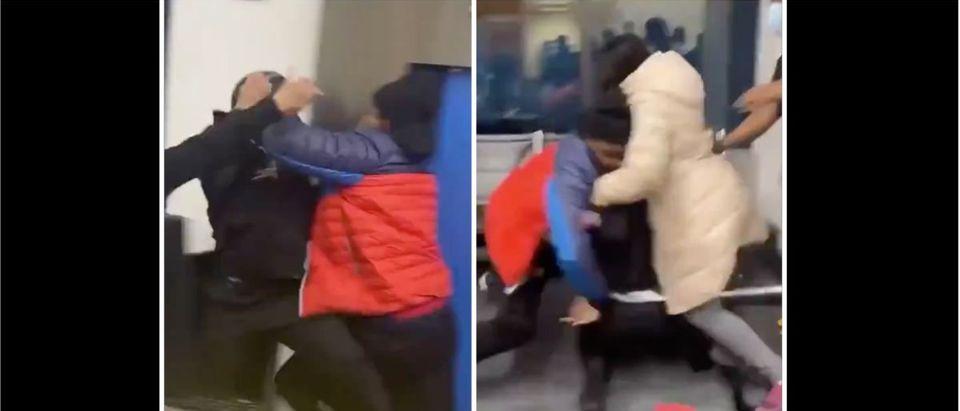 Airport Fight (Credit: Screenshot/Twitter Video https://twitter.com/OldRowViral/status/1351693356565409797)