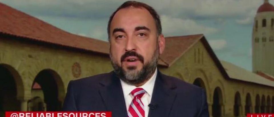 Alex Stamos argues for deplatforming (CNN screengrab)