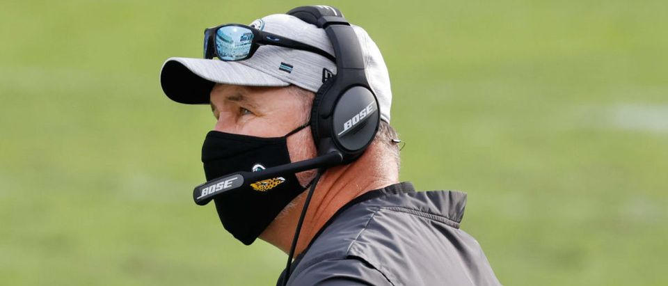 Nov 29, 2020; Jacksonville, Florida, USA; Jacksonville Jaguars head coach Doug Marrone on the bench during the second half against the Cleveland Browns at TIAA Bank Field. Mandatory Credit: Reinhold Matay-USA TODAY Sports via Reuters