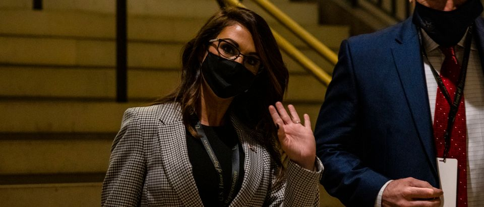 WASHINGTON, DC - NOVEMBER 13: Congresswoman-elect Lauren Boebert (R-CO) arrives at the U.S. Capitol on November 13, 2020 in Washington, DC. Newly elected members of the House of Representatives are attending orientation at the U.S. Capitol today following the 2020 elections. (Samuel Corum/Getty Images)