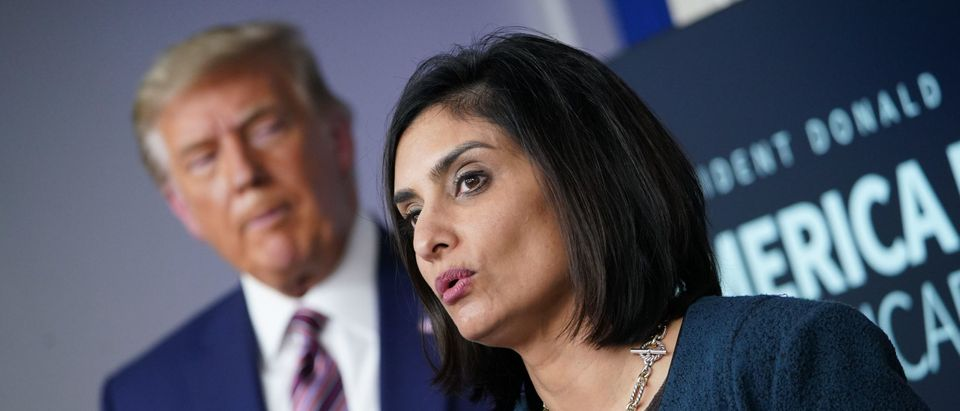 Seema Verma, administrator of the Centers for Medicare and Medicaid Services, speaks as President Donald Trump listens during an event on lowering prescription drug prices on November 20, 2020, in the Brady Briefing Room of the White House in Washington, DC. (Photo by MANDEL NGAN/AFP via Getty Images)