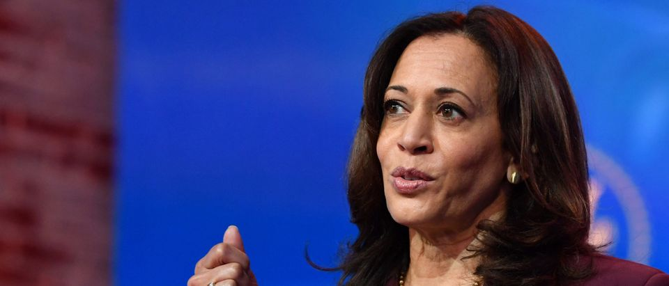 US Vice President-Elect Kamala Harris speaks during an event announcing the nomination of Dr. Miguel Cardona as Education Secretary at The Queen in Wilmington, Delaware, on December 23, 2020. (NICHOLAS KAMM/AFP via Getty Images)
