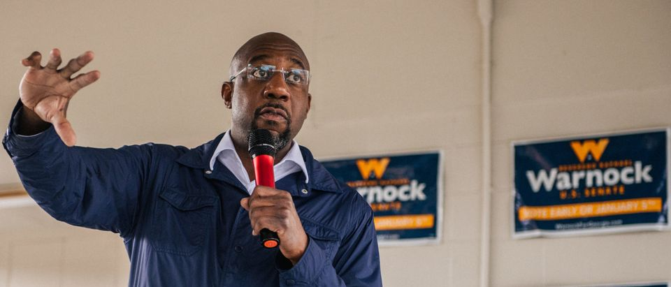 Georgia Democratic Senate candidate Rev. Raphael Warnock speaks at the It's Time to Vote drive-in rally on January 1, 2021 in Culloden, Georgia. (Brandon Bell/Getty Images)