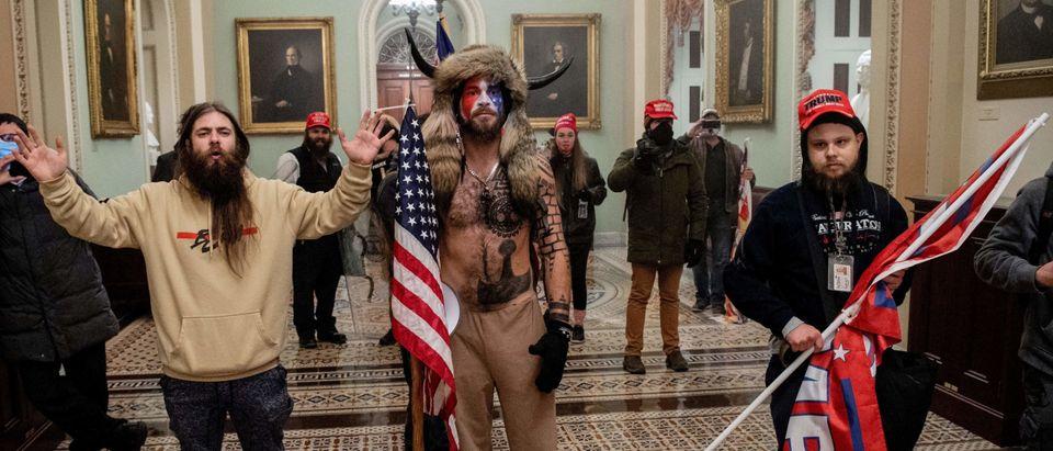'QAnon Shaman' inside the US Capitol Jan. 6