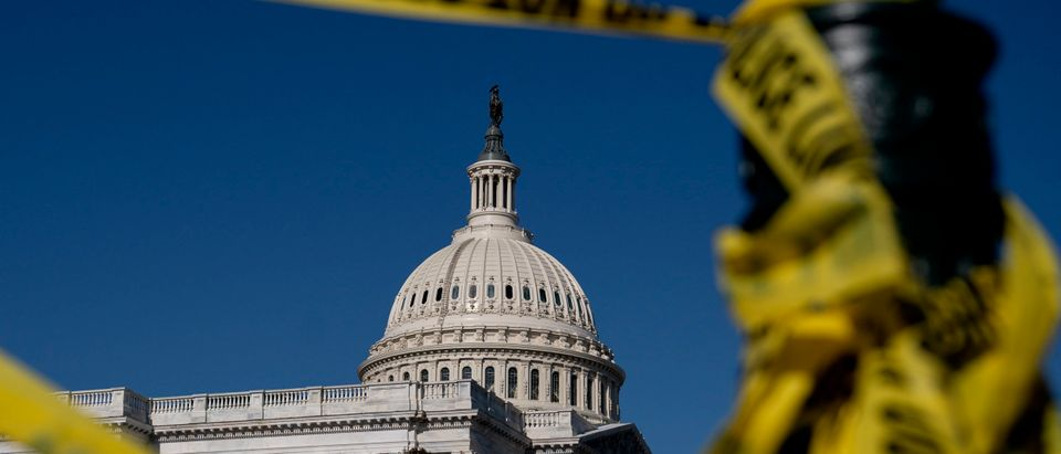Police tape hangs near the U.S. Capitol on January 14, 2021 in Washington, DC. (Stefani Reynolds/Getty Images)