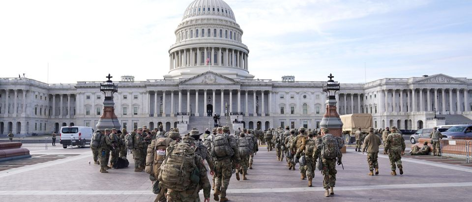 National Guard troops assemble outside of the U.S. Captiol on January 16, 2021 in Washington, DC. (Eric Thayer/Getty Images)