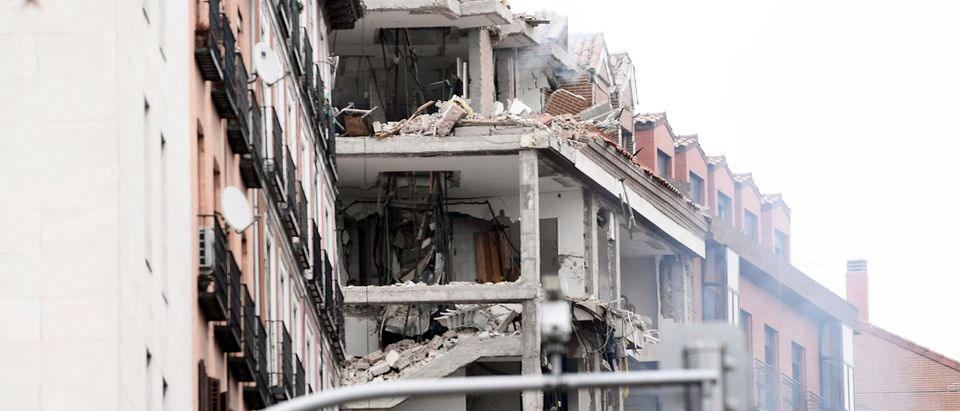 Explosion Damages A Building In The Centre Of Madrid