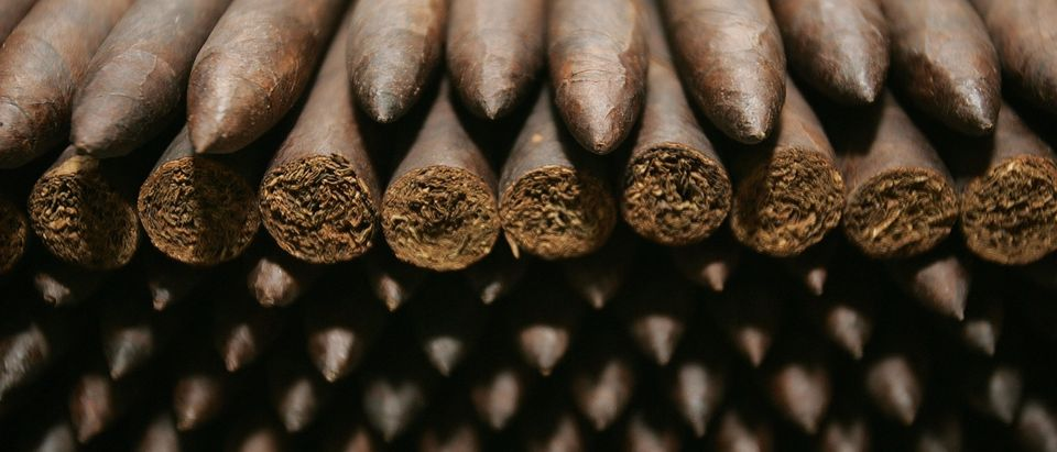 Cigars are stored inside a humidor room