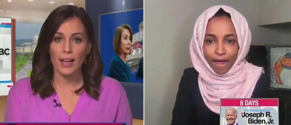 Ilhan Omar discusses impeachment (MSNBC screengrab)