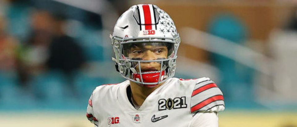 MIAMI GARDENS, FLORIDA - JANUARY 11: Justin Fields #1 of the Ohio State Buckeyes looks on during the second quarter of the College Football Playoff National Championship game against the Alabama Crimson Tide at Hard Rock Stadium on January 11, 2021 in Miami Gardens, Florida. (Photo by Kevin C. Cox/Getty Images)