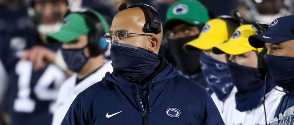 Dec 19, 2020; University Park, Pennsylvania, USA; Penn State Nittany Lions head coach James Franklin looks on from the sideline during the first quarter against the Illinois Fighting Illini at Beaver Stadium. Mandatory Credit: Matthew OHaren-USA TODAY Sports via Reuters