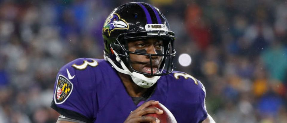 BALTIMORE, MARYLAND - DECEMBER 29: Quarterback Robert Griffin III #3 of the Baltimore Ravens rushes against the Pittsburgh Steelers during the second quarter at M&T Bank Stadium on December 29, 2019 in Baltimore, Maryland. (Photo by Scott Taetsch/Getty Images)
