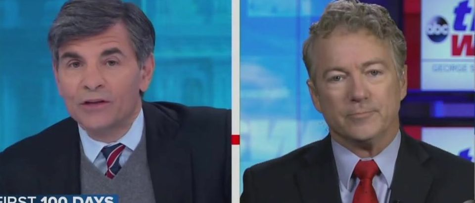 Rand Paul and George Stephanopoulos spar on election fraud topic (ABC screengrab)