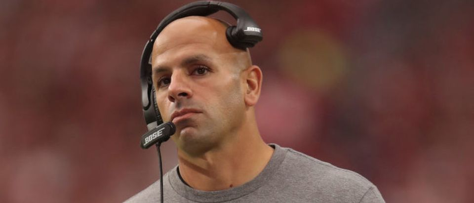 GLENDALE, AZ - OCTOBER 28: Defensive coordinator Robert Saleh of the San Francisco 49ers during the NFL game against the Arizona Cardinals at State Farm Stadium on October 28, 2018 in Glendale, Arizona. The Cardinals defeated the 49ers 18-15. (Photo by Christian Petersen/Getty Images)