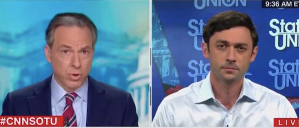 """Jake Tapper speaks with Jon Ossoff on """"State of the Union."""" Screenshot/CNN"""