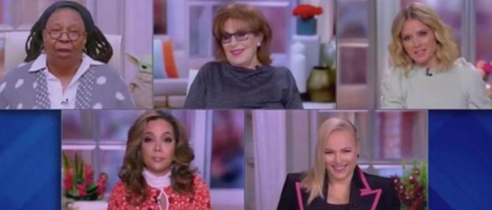 "Whoopi Goldberg, Joy Behar, Sara Haines, Sunny Hostin and Meghan McCain appear on ""The View."" Screenshot/ABC"