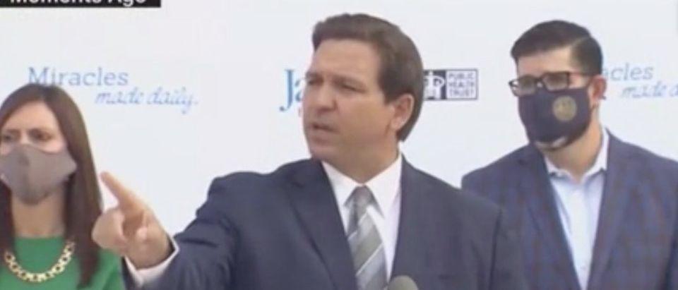 Florida Gov. Ron DeSantis challenges reporter. Screenshot/CNN