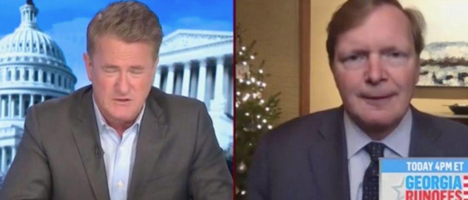 "Joe Scarborough speaks with Jim Messina on ""Morning Joe."" Screenshot/MSNBC"