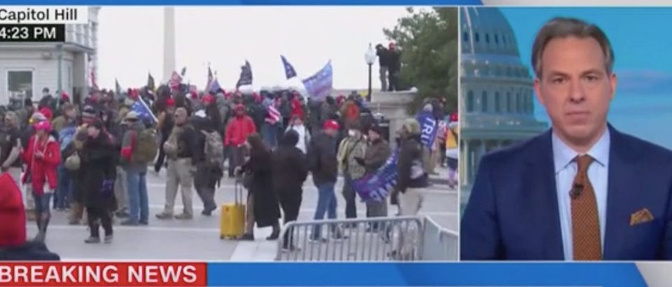 Jake Tapper addresses riots in Washington. Screenshot/CNN