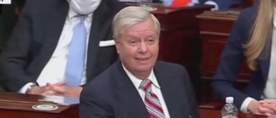 South Carolina Sen. Lindsey Graham speaks on the Senate floor. Screenshot/CNN