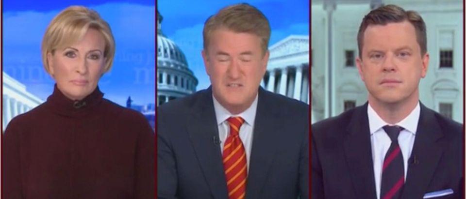 "Joe Scarborough, Mika Brzezinski, and Willie Geist on ""Morning Joe"" (Screenshot/MSNBC)"