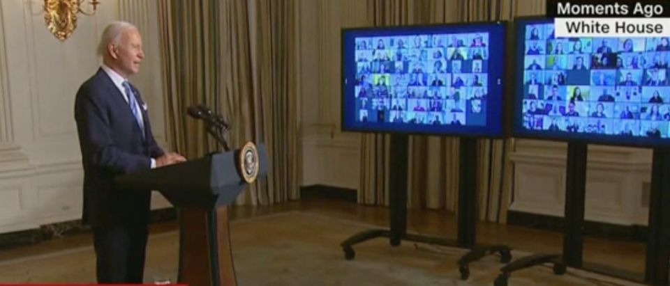 President Joe Biden addresses new appointees. Screenshot/CNN
